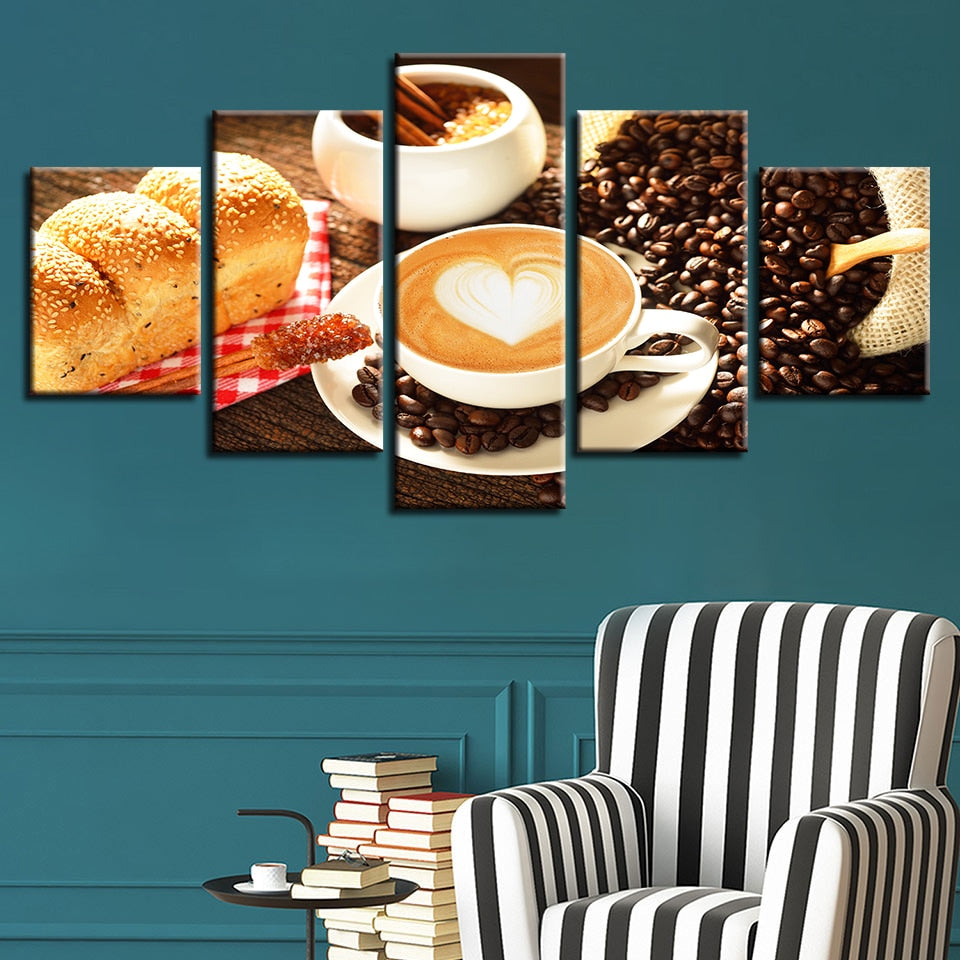Food Posters 5 Piece HD Multi Panel Canvas Wall Art Frame