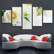 White Roses 5 Piece HD Multi Panel Canvas Wall Art Frame
