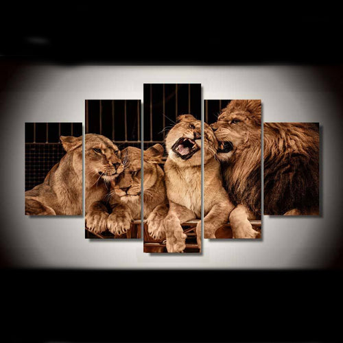 Lion Family 5 Piece HD Multi Panel Canvas Wall Art Frame