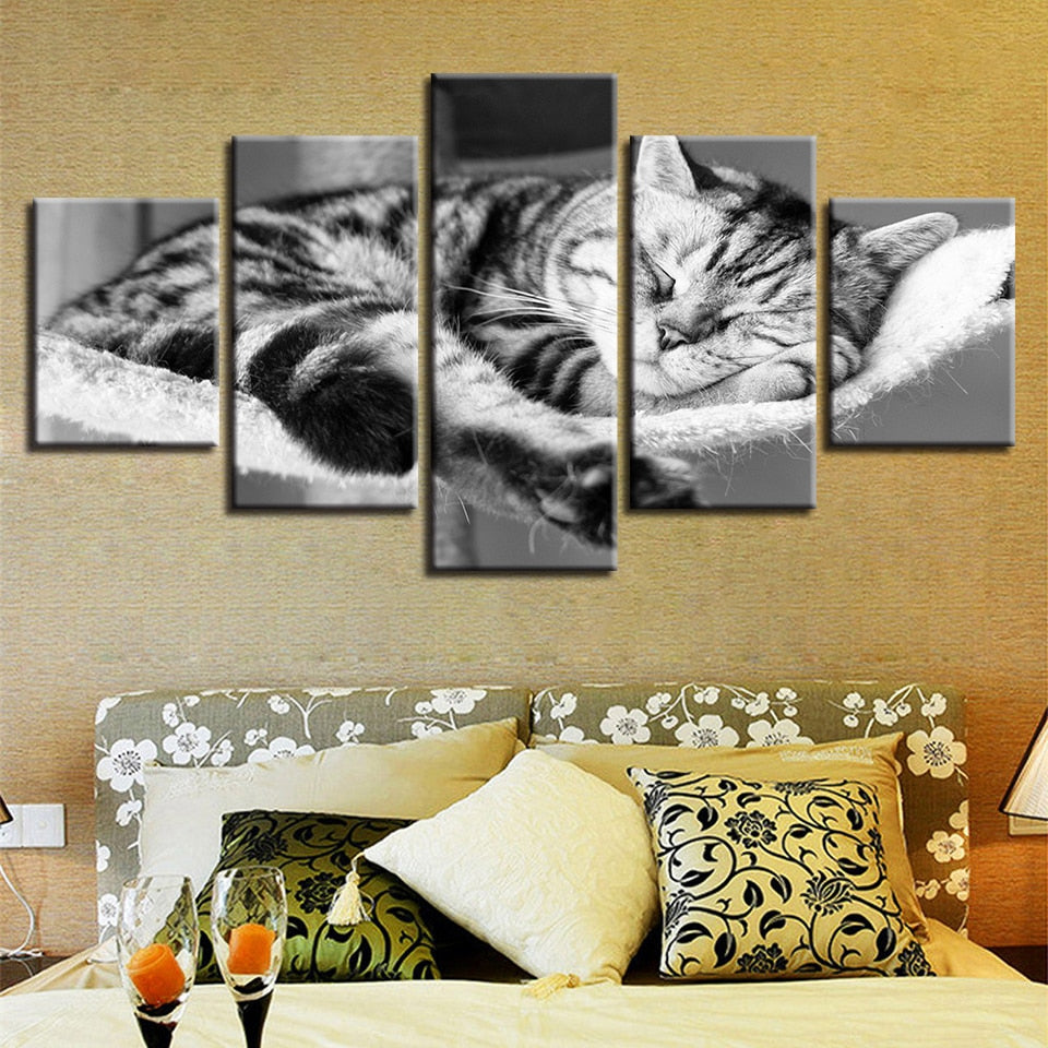 Lovely Sleeping Cat 5 Piece HD Multi Panel Canvas Wall Art Frame
