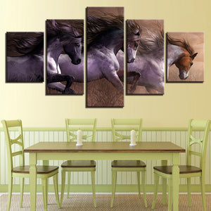 Horses Racing 5 Piece HD Multi Panel Canvas Wall Art Frame