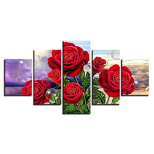 Red Roses 5 Piece HD Multi Panel Canvas Wall Art Frame