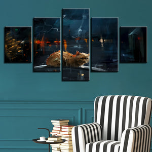 Cats In The Rain 5 Piece HD Multi Panel Canvas Wall Art Frame