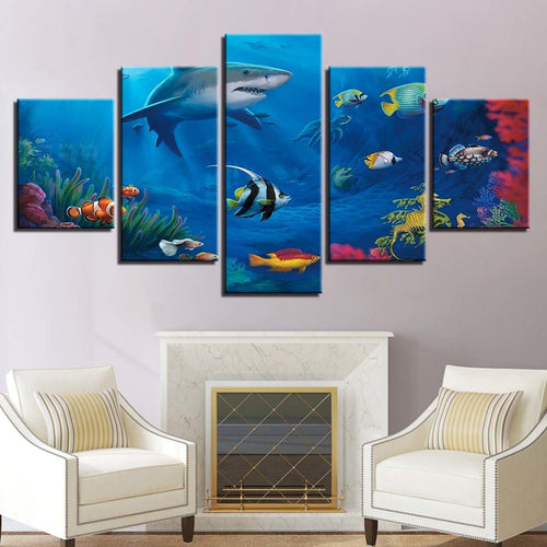 Marine Life 5 Piece HD Multi Panel Canvas Wall Art Frame