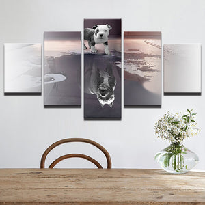 Animal Dog Reflection 5 Piece HD Multi Panel Canvas Wall Art Frame