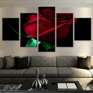 Red Rose 5 Piece HD Multi Panel Canvas Wall Art Frame