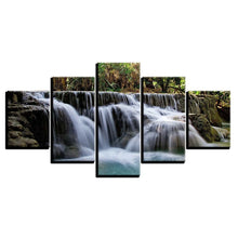 Rocky Waterfalls 5 Piece HD Multi Panel Canvas Wall Art Frame