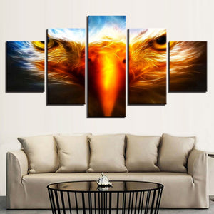 Fiery Eagle Eyes 5 Piece HD Multi Panel Canvas Wall Art Frame
