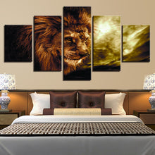 Angry Lion King 5 Piece HD Multi Panel Canvas Wall Art Frame