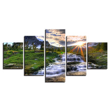 Mountain Waterfall Stream 5 Piece HD Multi Panel Canvas Wall Art Frame