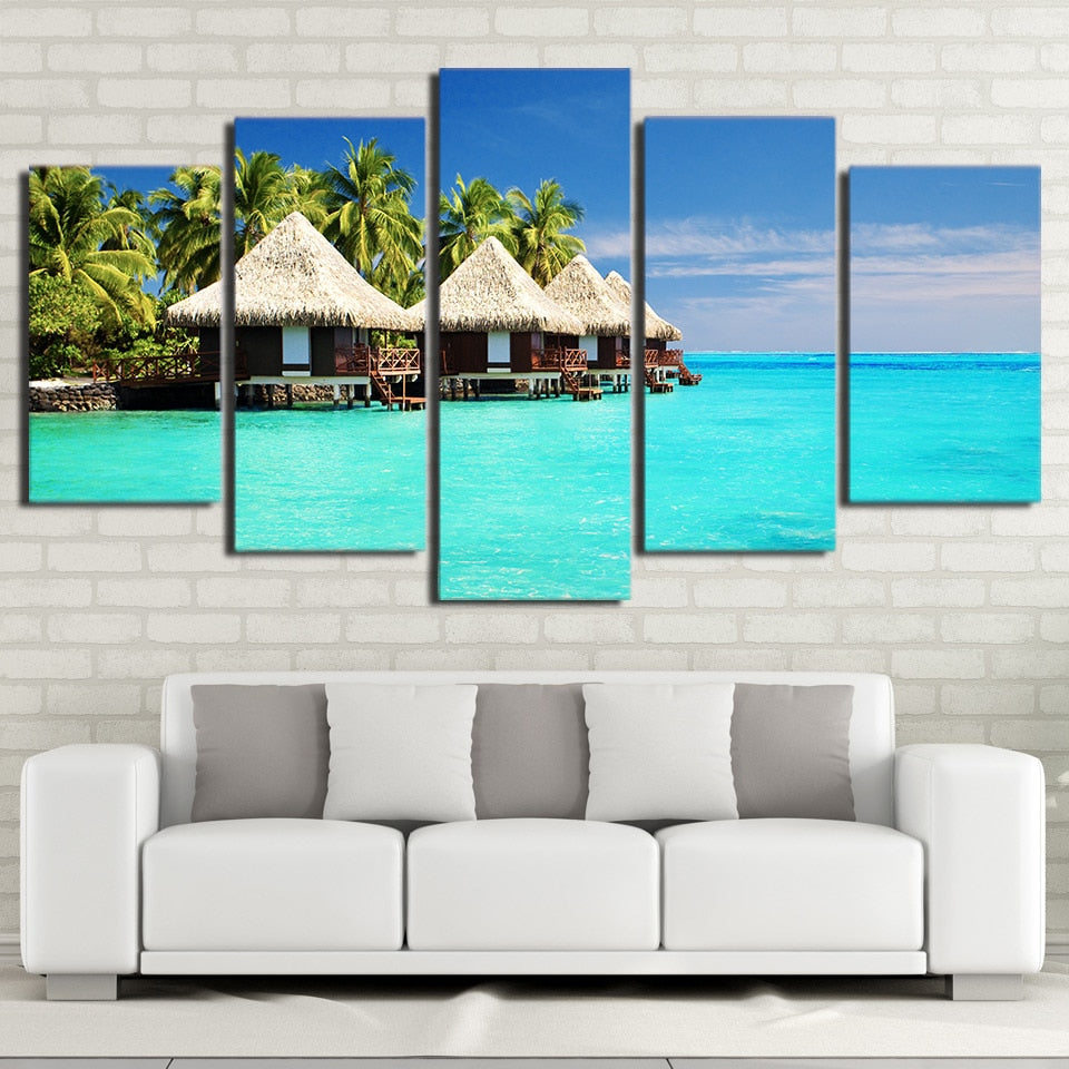 Peaceful Beach Afternoon 5 Piece HD Multi Panel Canvas Wall Art Frame