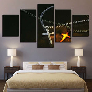 Ice And Fire Christ Cross 5 Piece HD Multi Panel Canvas Wall Art Frame
