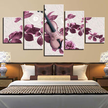 Rose Violin 5 Piece HD Multi Panel Canvas Wall Art Frame