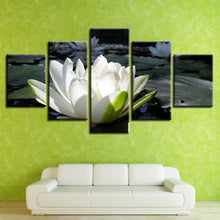 White Lotus 5 Piece HD Multi Panel Canvas Wall Art Frame