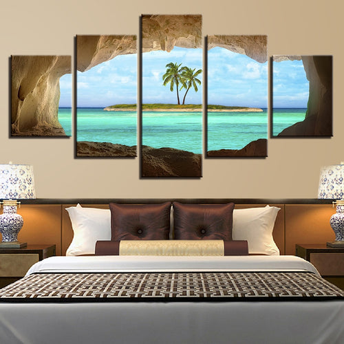 Cave View of Island 5 Piece HD Multi Panel Canvas Wall Art Frame
