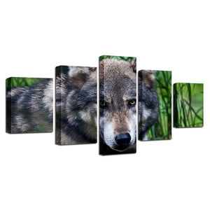 Wild Angry Wolf 5 Piece HD Multi Panel Canvas Wall Art Frame