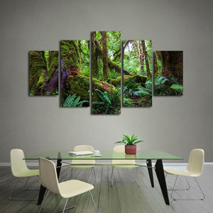 Green Forest 5 Piece HD Multi Panel Canvas Wall Art Frame
