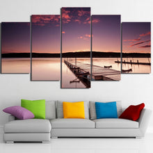 Bridge Sunrise 5 Piece HD Multi Panel Canvas Wall Art Frame
