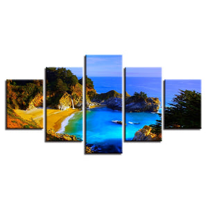 Blue Sea Scenery 5 Piece HD Multi Panel Canvas Wall Art Frame