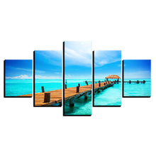 Blue Sky Wooden Bridge 5 Piece HD Multi Panel Canvas Wall Art Frame