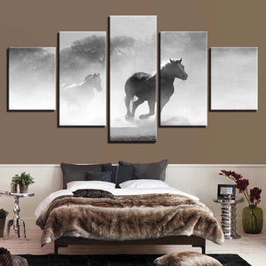 Horses Running 5 Piece HD Multi Panel Canvas Wall Art Frame