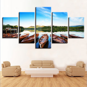 Beautiful Boats In The Lake 5 Piece HD Multi Panel Canvas Wall Art Frame