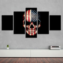 American Flag Skull 5 Piece HD Multi Panel Canvas Wall Art Frame