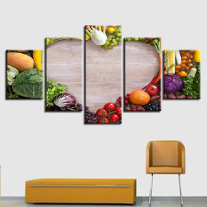 Vegetables And Fruits 5 Piece HD Multi Panel Canvas Wall Art Frame