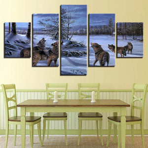 Wolves Howling 5 Piece HD Multi Panel Canvas Wall Art Frame