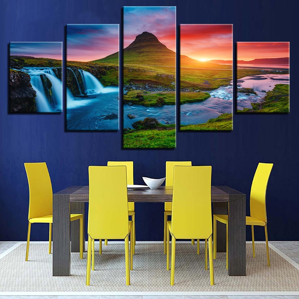 Mountain Waterfall Sunset 5 Piece HD Multi Panel Canvas Wall Art Frame