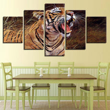 Tiger Yawning 5 Piece HD Multi Panel Canvas Wall Art Frame