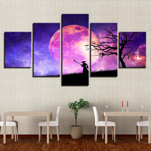 Tree And Moon Night 5 Piece HD Multi Panel Canvas Wall Art Frame