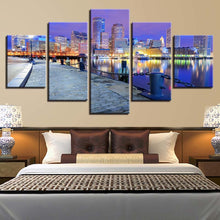 City Building Night View 5 Piece HD Multi Panel Canvas Wall Art Frame