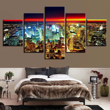 Modern City Lights 5 Piece HD Multi Panel Canvas Wall Art Frame