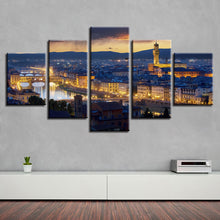 Florence Cathedral City Night 5 Piece HD Multi Panel Canvas Wall Art Frame