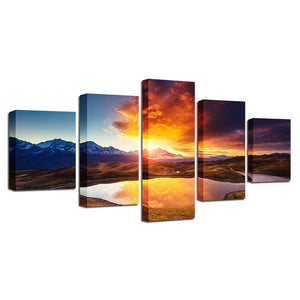 Mountain And River Sunshine 5 Piece HD Multi Panel Canvas Wall Art Frame