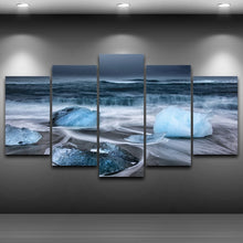 Oceans Ice Stones 5 Piece HD Multi Panel Canvas Wall Art Frame