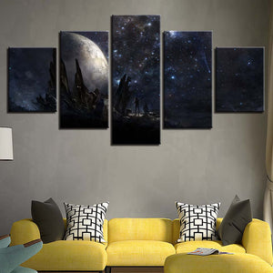 Earth Planet Night Scene 5 Piece HD Multi Panel Canvas Wall Art Frame