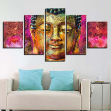 Buddha Flower Art 5 Piece HD Multi Panel Canvas Wall Art Frame