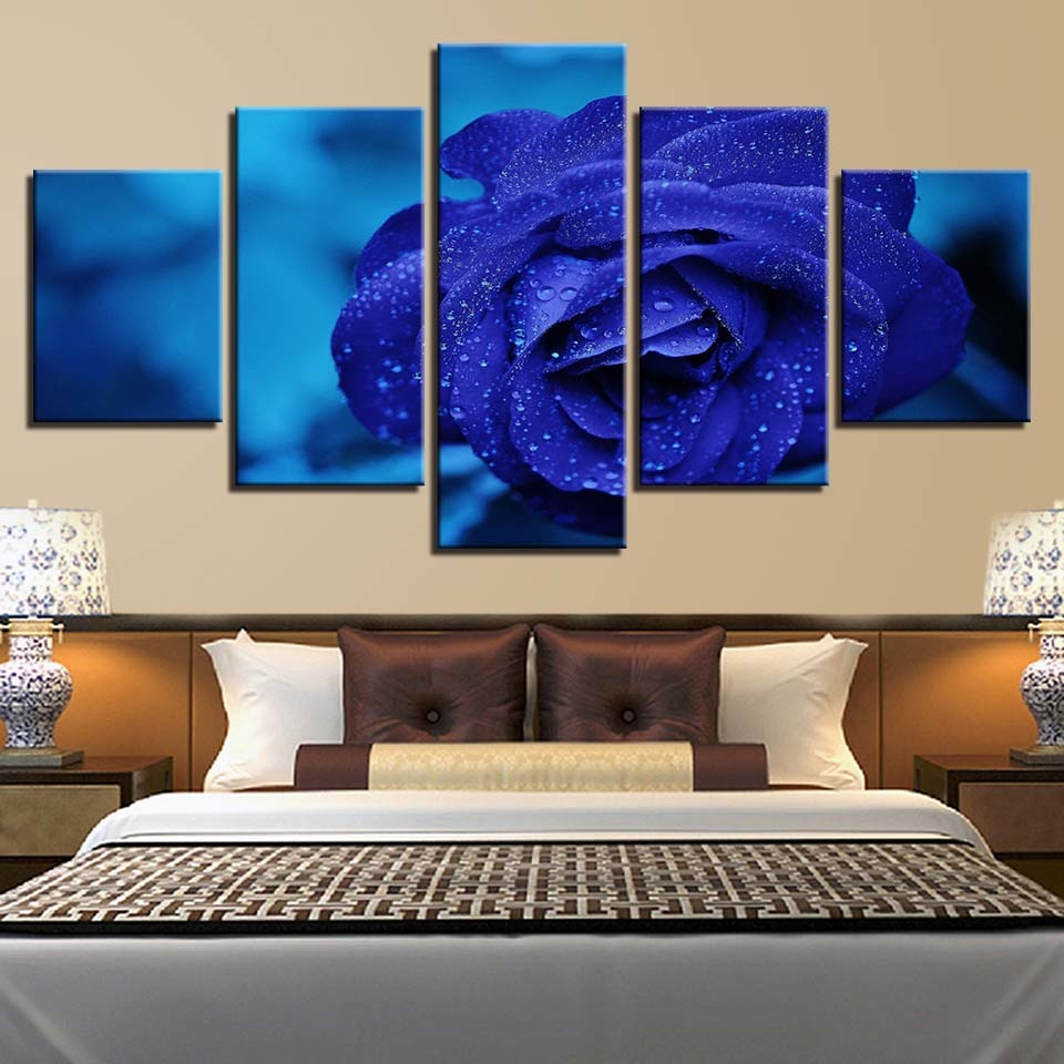 Blue Rose 5 Piece HD Multi Panel Canvas Wall Art Frame