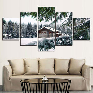 House In The Winter 5 Piece HD Multi Panel Canvas Wall Art Frame