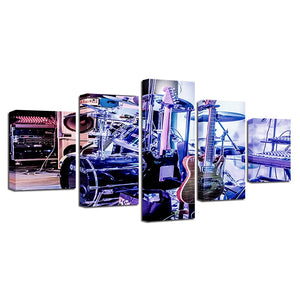 Drum Kit Guitar 5 Piece HD Multi Panel Canvas Wall Art Frame