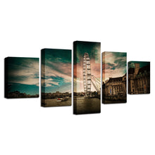 Giant Wheel 5 Piece HD Multi Panel Canvas Wall Art Frame