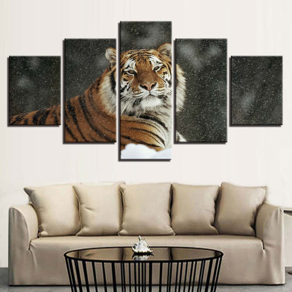 Male Tiger In Snow 5 Piece HD Multi Panel Canvas Wall Art Frame
