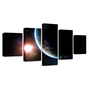 Earth & Mars 5 Piece HD Multi Panel Canvas Wall Art Frame
