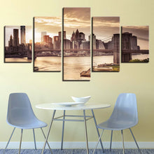 Brooklyn Bridge 5 Piece HD Multi Panel Canvas Wall Art Frame