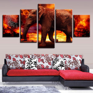 Elephant on Fire 5 Piece HD Multi Panel Canvas Wall Art Frame