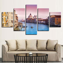 Ships And Buildings 5 Piece HD Multi Panel Canvas Wall Art Frame