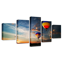 Hot Air Balloon 5 Piece HD Multi Panel Canvas Wall Art Frame
