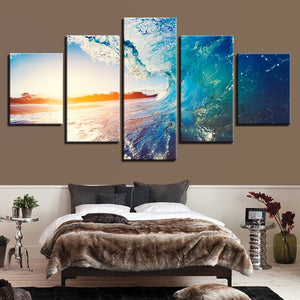 Sunny Seawave 5 Piece HD Multi Panel Canvas Wall Art Frame